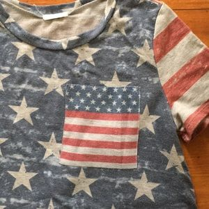 12 Pm By Mon Ami Tops - 12Pm by Mon Ami American Flag Tee Size L